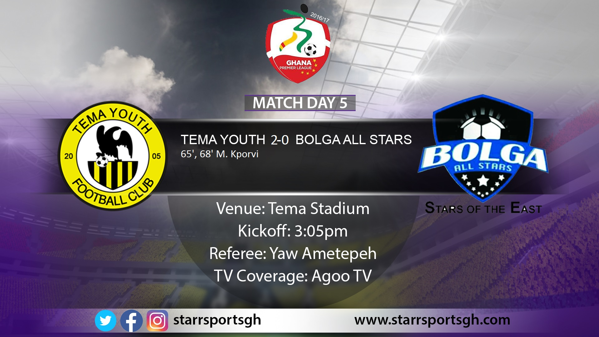 Kporvi brace inspires Tema Youth to victory over Bolga All Stars