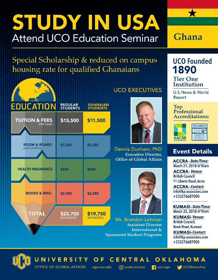 'Study in USA' University of Central Oklahoma offer on-the-spot admissions in Accra, KSI seminar